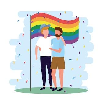 Homens casal com bandeira de arco-íris para lgbt desfile