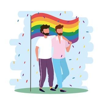 Homens casal junto com bandeira de arco-íris