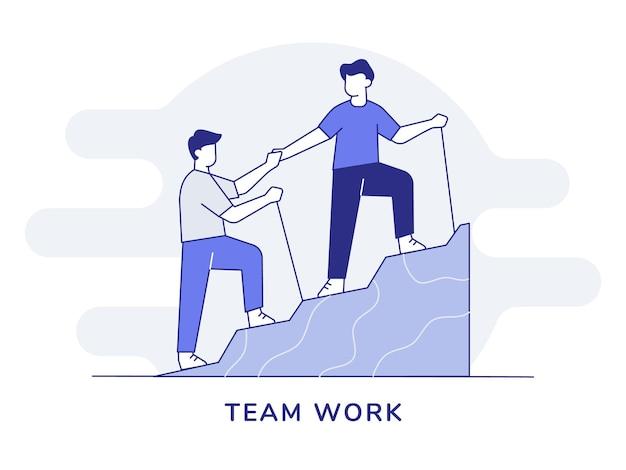 Homens com caráter de trabalho em equipe ajudam um amigo a escalar a colina com estilo de contorno