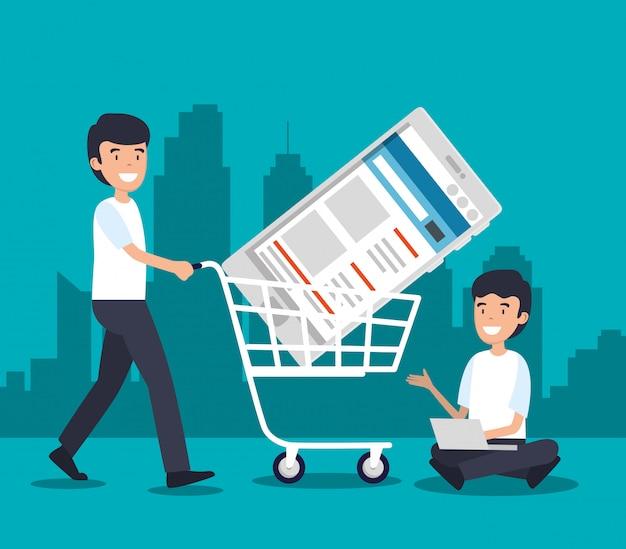 Homens com carro de compras e tecnologia de smartphone