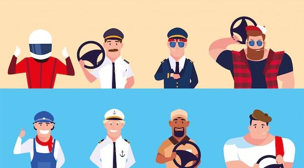 Homens com diferentes profissões de motoristas