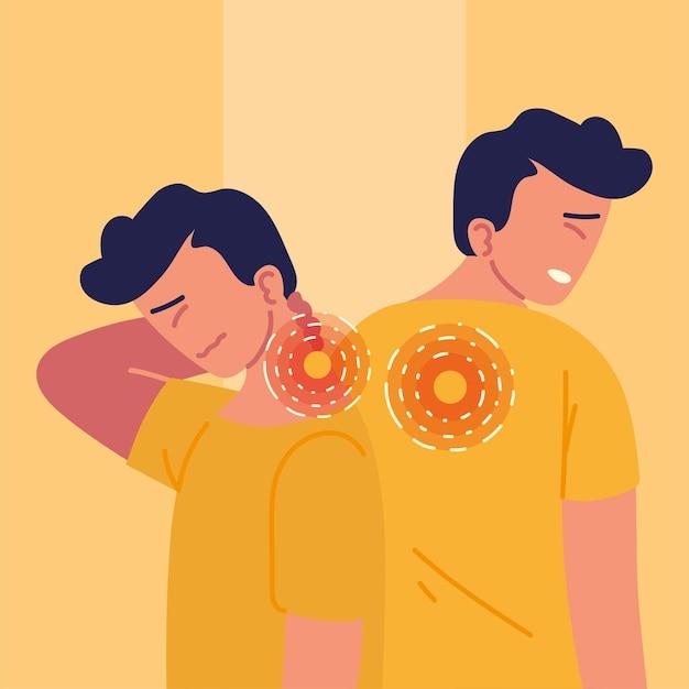 Homens com dor nas costas