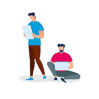 Homens com gadgets isolados no fundo branco.