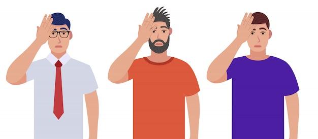 Homens com gestos na palma da mão. dor de cabeça, decepção ou vergonha. conjunto de caracteres.