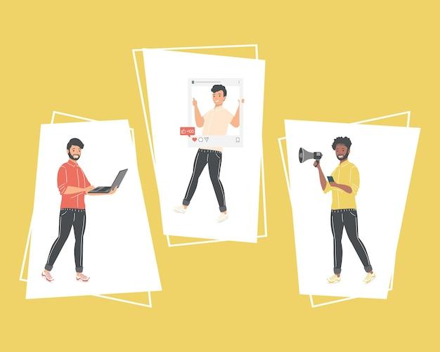 Homens com ícones de mídia social