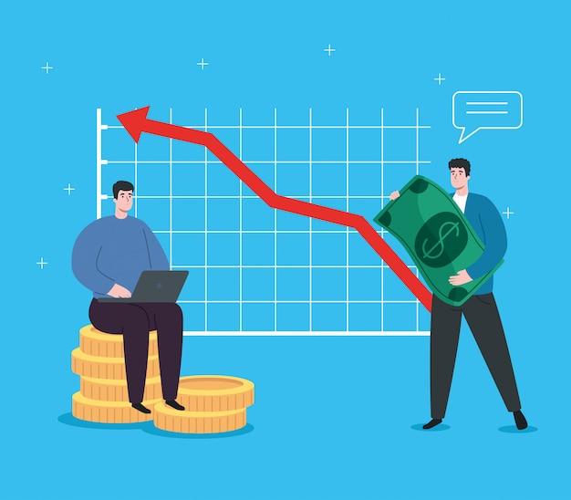 Homens com infográfico de recuperação financeira