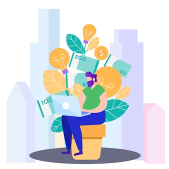 Homens com laptop ganhar dinheiro. ilustração.