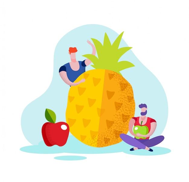Homens com maçãs e abacaxi no fundo branco.
