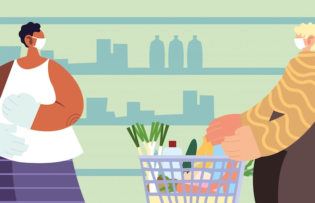 Homens com máscara médica no supermercado com precauções por coronavírus, distanciamento social