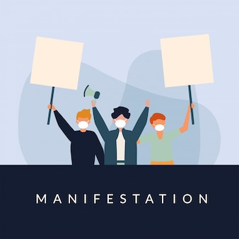 Homens com máscaras médicas banners placas e megafone