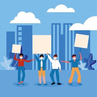 Homens com máscaras médicas e placas de banners na cidade
