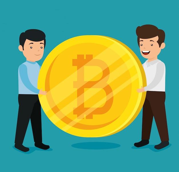 Homens com moeda financeira de bitcoin eletrônico