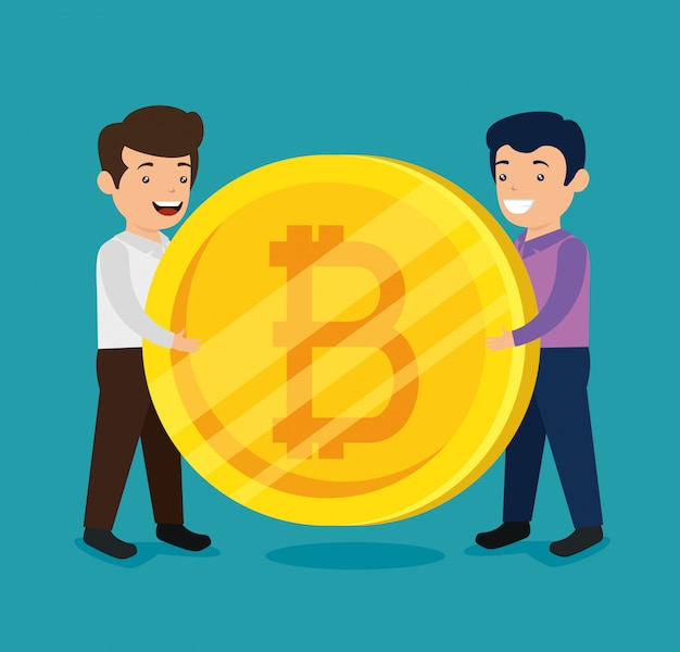 Homens com moeda financeira eletrônica bitcoin
