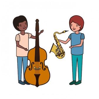 Homens, com, musical, instrumentos, personagem
