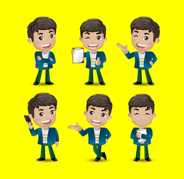 Homens com poses diferentes