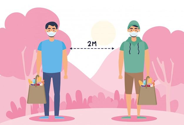 Homens com sacola de compras e distanciamento social para covid19