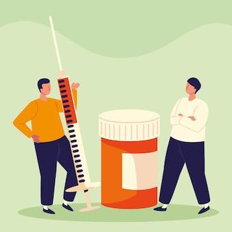 Homens com seringa e remédio
