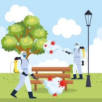 Homens com traje de proteção pulverizando árvore do parque e banco com