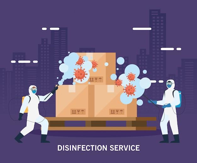 Homens com traje de proteção pulverizando caixas de entrega com