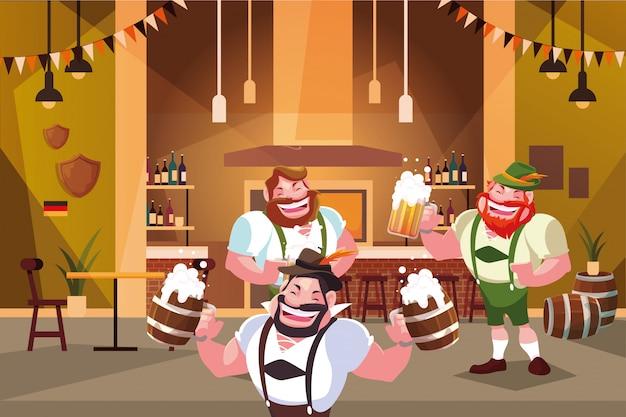 Homens com vestido tradicional alemão bebem cerveja no bar celebração da oktoberfest