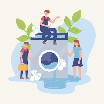 Homens consertando uma máquina de lavar