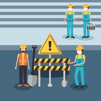 Homens construtor com máscaras e design de barreira