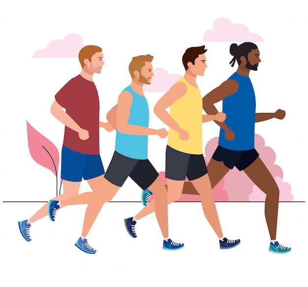 Homens correndo, corrida masculina, homens em roupas esportivas