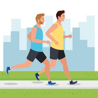 Homens correndo na paisagem urbana, homens do grupo correndo, pessoas no sportswear correndo