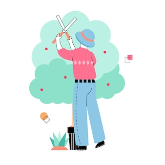 Homens cortam plantas no jardim na primavera