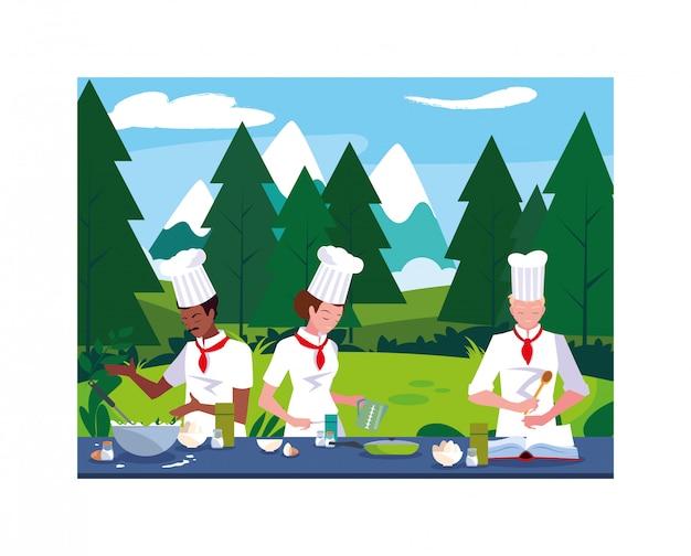 Homens cozinhando, chef de uniforme branco