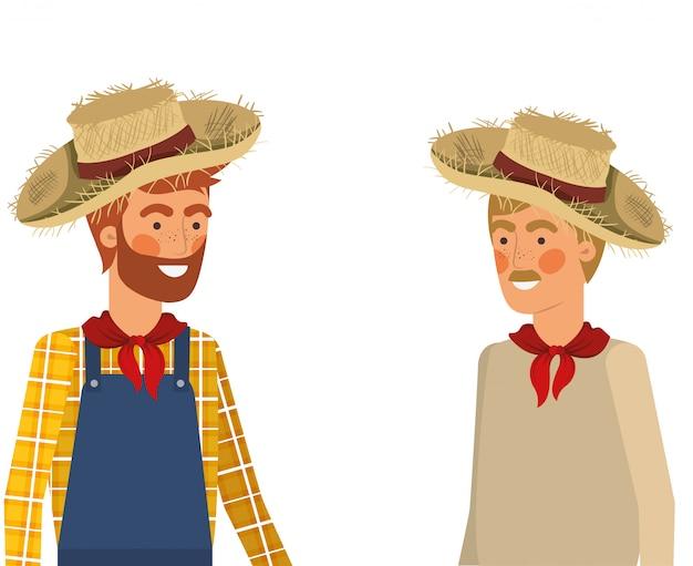 Homens de agricultores falando com chapéu de palha