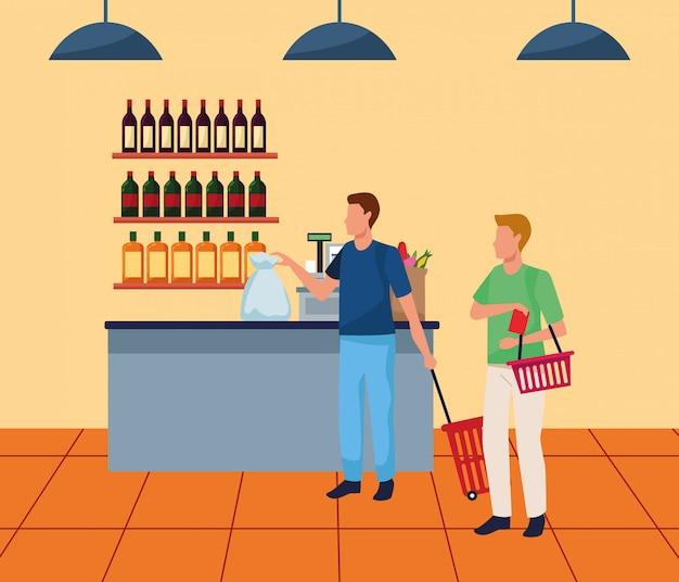 Homens de avatar na caixa registradora do supermercado