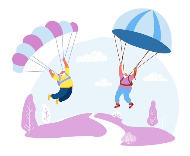 Homens de cabelo branco sênior paraquedistas em uniforme de desgaste esportivo flutuando no céu com rampas.