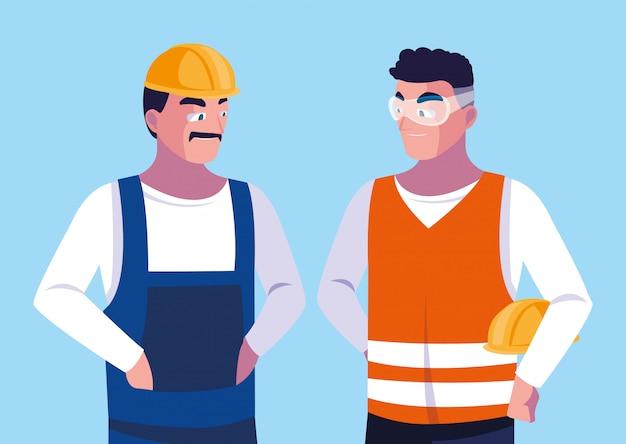 Homens de engenheiro de avatar dos desenhos animados