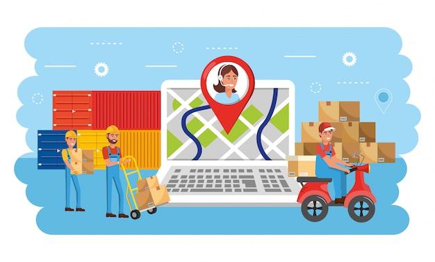 Homens de entrega com serviço de caixas de distribuição e recipientes