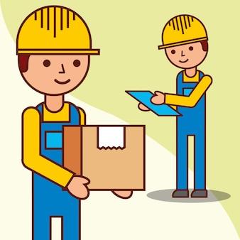 Homens de entrega, verificando com uma parcela e uma prancheta