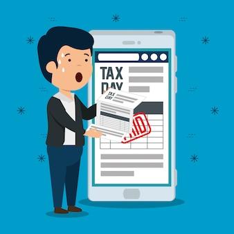 Homens de finanças com relatório de imposto sobre serviços