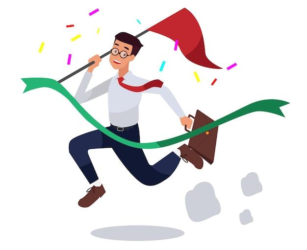 Homens de negócios bem-sucedidos seguram uma bandeira e pulam