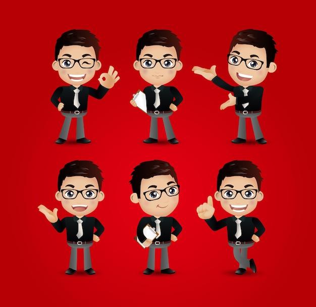 Homens de negócios com poses diferentes