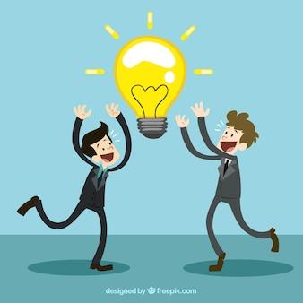 Homens de negócios com uma grande idéia