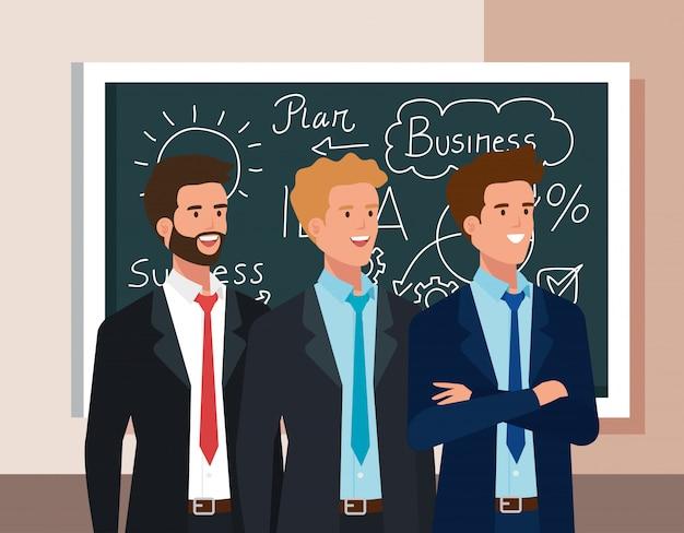 Homens de negócios e lousa com gráficos de plano de negócios