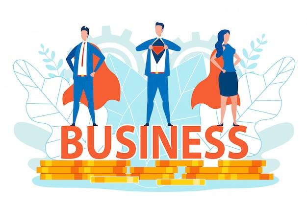 Homens de negócios e mulher em trajes de super herói.