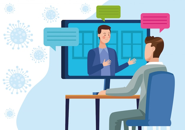 Homens de negócios em reunião reunião on-line