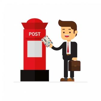 Homens de negócios enviam cartas para a caixa de correio vermelha