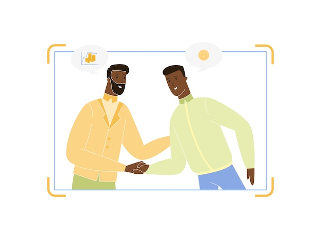 Homens de negócios jovens e adultos casal apertando as mãos