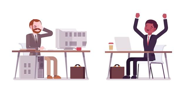 Homens de negócios jovens e envelhecidos, trabalhando no computador antigo e moderno