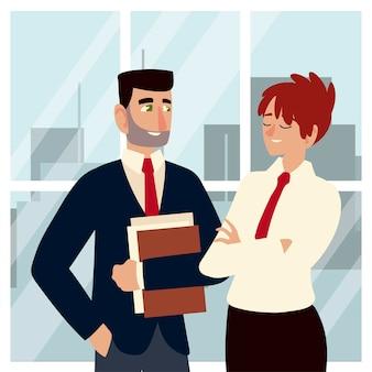 Homens de negócios, mulher e homem falando personagens profissionais