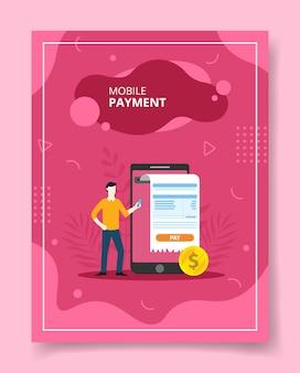Homens de pagamento móvel perto de grande smaertphone pagamento de contas, cartaz.