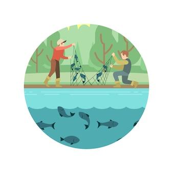 Homens de pesca com emblema de peixe e equipamentos