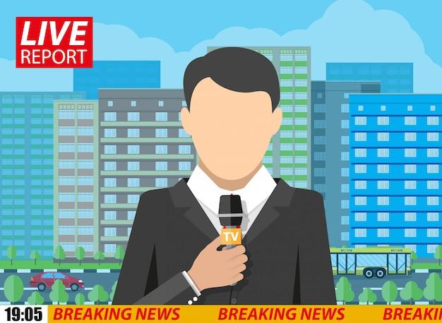 Homens de repórter de notícias com microfone na rua